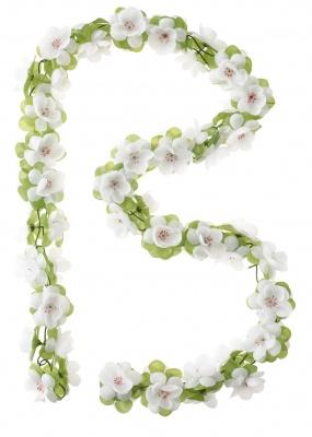 Basil Blumengirlande Flower für Fahrradkörbe weiß