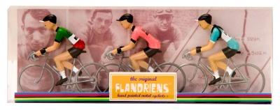 Flandriens Miniatur-Radfahrer Fausto Coppi Metall Handbemalt (3 Stück)