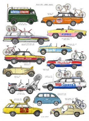 """Bike Race Support Vehicles"" Kunstdruck (David Sparshott)"