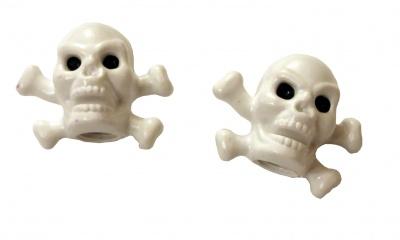 TrikTopz Ventilkappen Totenkopf weiß mit Knochen