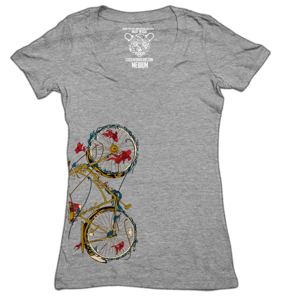 clockwork gears t shirt women cycling fish beim. Black Bedroom Furniture Sets. Home Design Ideas